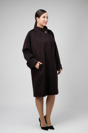 Итальянское пальто на большой размер из шерсти Loro Piana Teresa Tardia. Цвет: сливовый