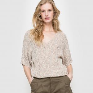 Пуловер из трикотажа меланж La Redoute Collections. Цвет: розовый/разноцветный