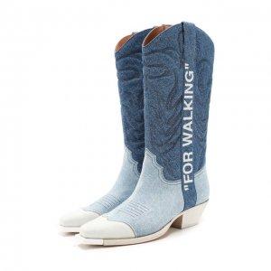 Текстильные сапоги Off-White. Цвет: синий