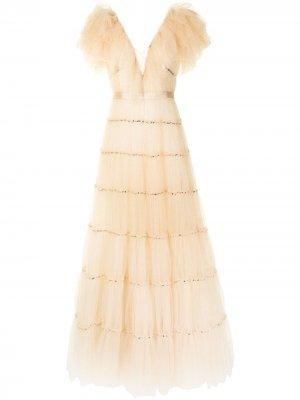 Вечернее платье Gold Dust из тюля с блестками Jenny Packham. Цвет: оранжевый