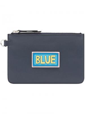 Patch embellished pouch Fendi. Цвет: синий