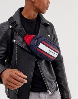 Темно-синяя сумка-кошелек на пояс с полосками и логотипом -Темно-синий Nicce