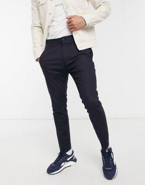 Зауженные брюки из эластичной ткани букле с декоративной отделкой молниями Faloo-Темно-синий HUGO
