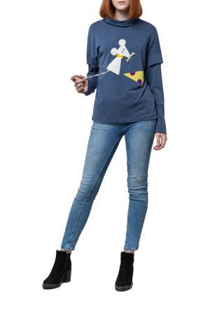 Блуза с аппликацией Adzhedo. Цвет: голубой, меланж