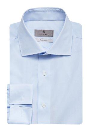 Рубашка из хлопка Impeccabile с манжетами под запонки CANALI. Цвет: голубой