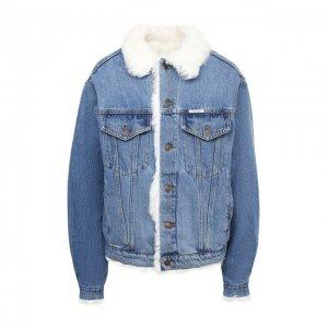 Джинсовая куртка с меховой подкладкой Forte Dei Marmi Couture. Цвет: синий