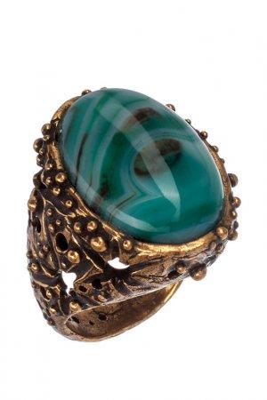 Кольцо ALCOZER. Цвет: золотой, зеленый, белый