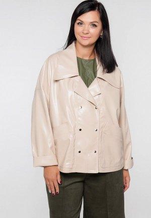 Куртка кожаная Limonti. Цвет: бежевый