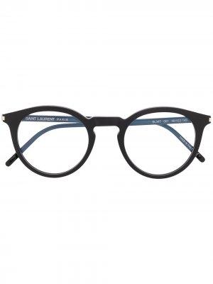 Очки SL347 в круглой оправе Saint Laurent Eyewear. Цвет: черный