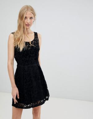 Бархатное платье с выжженной отделкой -Черный Deby Debo