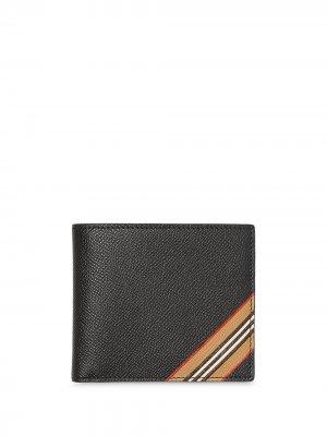 Бумажник в полоску Icon Stripe Burberry. Цвет: черный