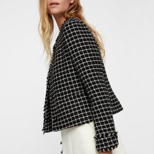 Куртка короткая с круглым вырезом из твида VERO MODA. Цвет: черный