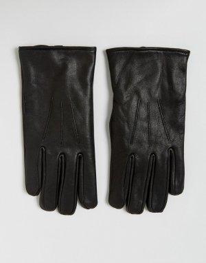 Черные кожаные перчатки Classic French Connection. Цвет: черный