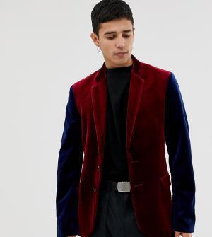 Бордовый бархатный блейзер с контрастными рукавами COLLUSION-Красный Collusion