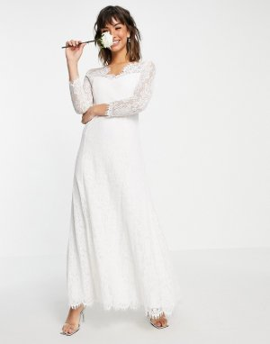 Белое свадебное платье макси с кружевом и длинными рукавами -Белый Vila