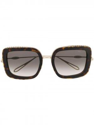 Очки в квадратной оправе черепаховой расцветки Chopard Eyewear. Цвет: черный