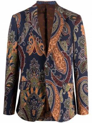 Пиджак с узором пейсли ETRO. Цвет: синий
