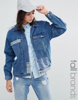 Джинсовая куртка в стиле пэтчворк Waven Tall. Цвет: синий
