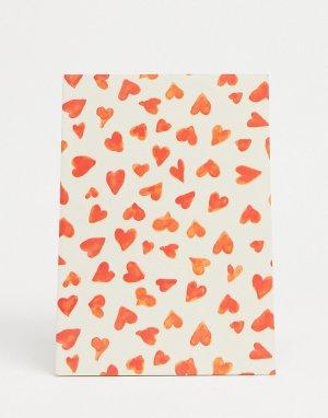 Блокнот с принтом сердечек Signe-Многоцветный Monki