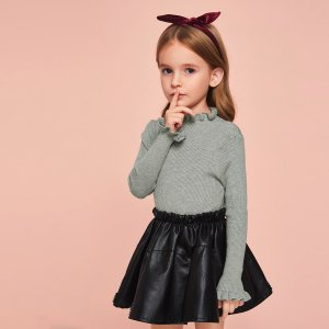 Вязаный свитер со сладкой для девочек SHEIN. Цвет: серые