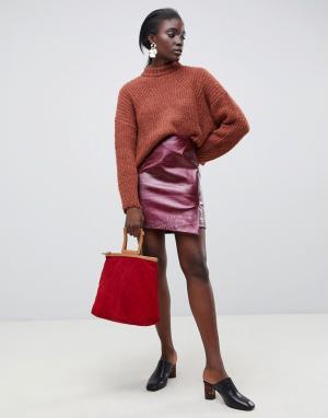 Красная кожаная юбка с запахом и отделкой под змеиную кожу Femme-Красный Selected