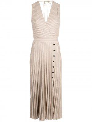 Плиссированное платье с блестками D.Exterior. Цвет: нейтральные цвета