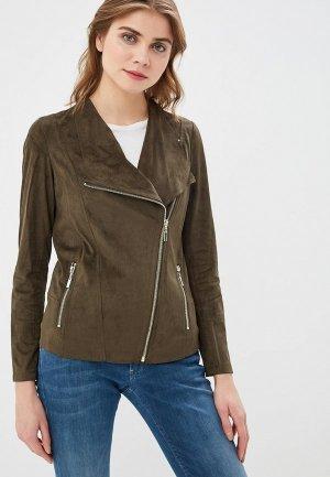 Куртка кожаная Wallis. Цвет: хаки