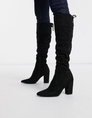 Черные ботфорты на высоком блочном каблуке -Черный Steve Madden