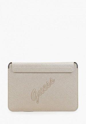 Чехол для ноутбука Guess 13, Sleeve Saffiano Script logo Gold. Цвет: бежевый