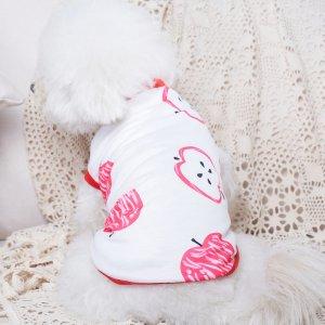 Майка для домашних животных с принтом яблока SHEIN. Цвет: арбузный розовый