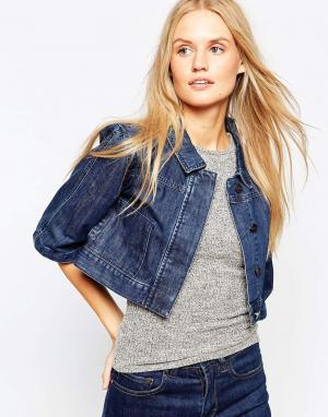 Укороченная джинсовая куртка с рукавами-кимоно Waven. Цвет: синий