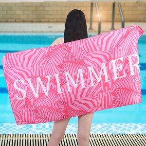Многофункциональное полотенце с текстовым принтом SHEIN. Цвет: розовые