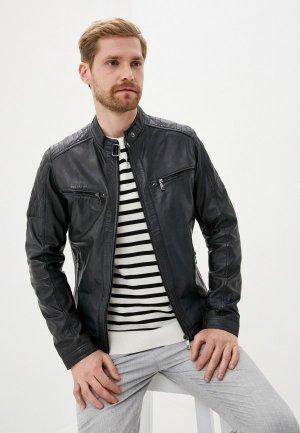 Куртка кожаная Jorg Weber. Цвет: синий