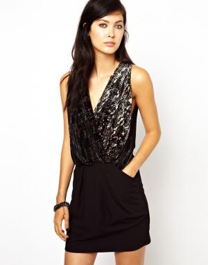 Бархатное платье-оригами с выжженным узором Edun. Цвет: copper broth