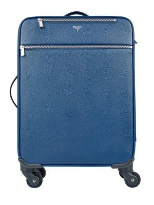 Классический чемодан из сафьяновой кожи с эргономичными ручками SERAPIAN. Цвет: голубой