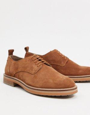Светло-коричневые замшевые дерби на массивной подошве -Светло-коричневый Burton Menswear