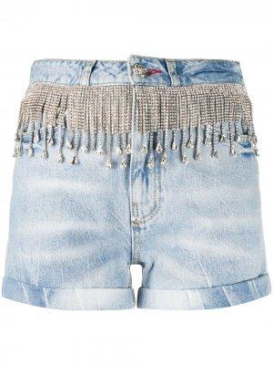 Джинсовые шорты с бахромой из кристаллов Philipp Plein. Цвет: синий
