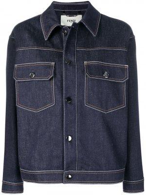 Джинсовая куртка прямого кроя Fendi. Цвет: синий