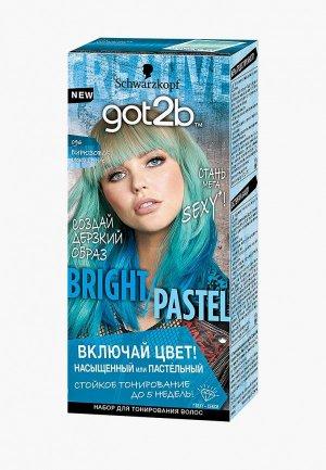 Краска для волос Got2B BRIGHT/PASTEL, 096 Бирюзовое искушение, 80 мл. Цвет: бирюзовый
