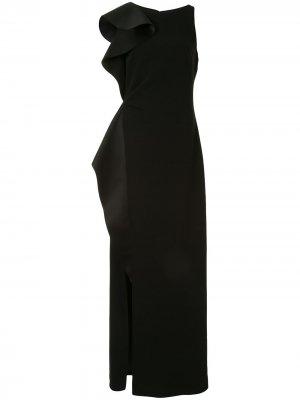 Вечернее платье с драпировкой без рукавов Black Halo. Цвет: черный