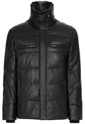 Утепленная кожаная куртка с отделкой мехом кролика Al Franco