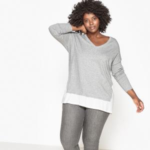 Пуловер из 2 материалов с V-образным вырезом CASTALUNA. Цвет: серый меланж