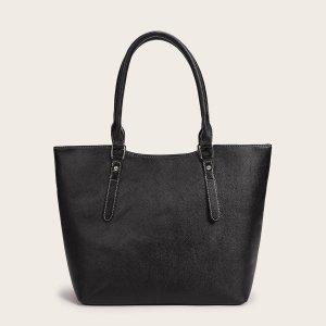 Минималистская сумка-тоут большой емкости SHEIN. Цвет: чёрный