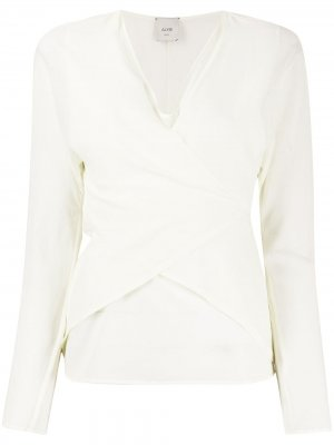 Блузка с запахом и завязками сзади Alysi. Цвет: нейтральные цвета
