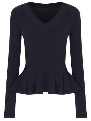 Шерстяной пуловер с баской ALAIA. Цвет: синий