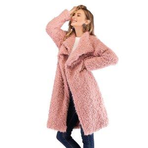 Однотонное Пальто Тедди С Большим Воротником SHEIN. Цвет: розовые