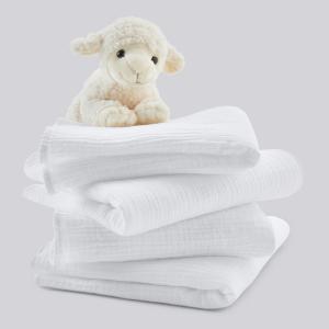 4 пеленки для новорожденного из хлопковой ткани Kumla LA REDOUTE INTERIEURS. Цвет: белый,бледно-розовый,серо-зеленый
