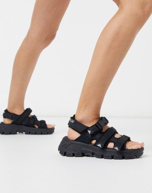 Черные сандалии на массивной подошве с пряжками CAT Progressor-Черный Footwear