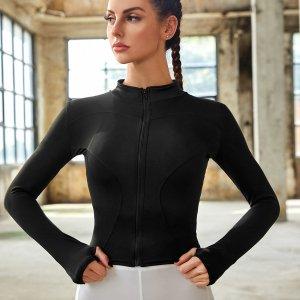 Спортивная куртка петля для большого пальца на молнии SHEIN. Цвет: чёрный