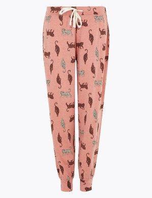 Хлопковые пижамные брюки с принтом Тигры M&S Collection. Цвет: умеренный розовый